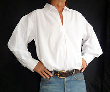 """WHITE Cotton pirate /fencingshirt, Goth, Halloween Morris Fancy dress, 46"""" S new"""