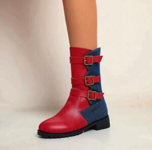 Women's Fashion Two Tone Buckle Straps Low Heel Biker Mid Calf Boots Shoes DIWD