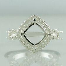 Semi Mount Cushion Shape Ring 8 MM C/b Stone Setting Silver Wedding Top Jewelry