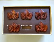 Pottery Barn Set of 5 Nip Wood Look Brass Maple Leaf Napkin Rings