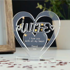 Personalised Heart with Message Ornament Keepsake Wife Birthday Anniversary Gift