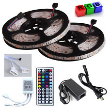 10M 5050SMD RGB LED Color Change Strip Light +44 Key Remote 2 Outlet+6A Power