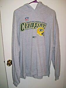 Green Bay Packers 2007 NFC North Champions Hoodie Sweatshirt XL Reebok NFL