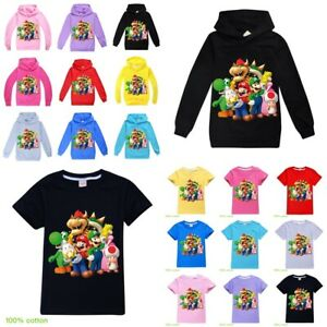 New Super Mario Kids Boys Girl Hoodie Sweatshirt Cotton Short Sleeve T-shirt Top