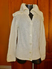 H&M Solid Ivory Mohair Wool Pearl KNIT Huge Turtleneck CARDIGAN SWEATER Sz 14