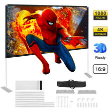 """100"""" 16:9 HD 3D 4K Portable Projector Screen w/ Stand Movie Home Theater Cinema"""