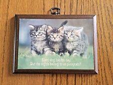 Sweet Vintage Hallmark Kittens Plaque Wood 1970's Nights Belong To Pussycats!