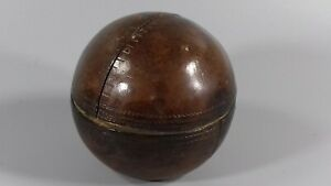 ANTIQUE VICTORIAN LEATHER BRASS CRICKET BALL TRAVELLING INKWELL