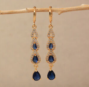 18K Gold Filled - Hollow Flower Animal Shape Colorful Gemstone Dangle Earrings