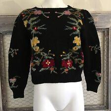 Women's Carol Reed WOOL Sweater M Medium Floral Handknit