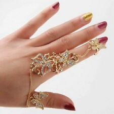 Butterfly Crystal Finger Ring Harness Hand Chain Party Wedding Jewellery UK