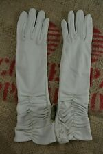 VINTAGE 1970s FCL GLOVES ivory nylon mid length rouched evening gloves 7 NEW