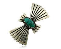 Navajo Handmade Brooch Pin 925 Sterling Silver Turquoise Artist Reeves C.1990