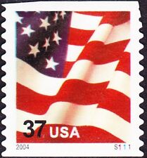 Us - 2004 - 37 Cents United States Flag Coil #3632C Plate Number Single P# S1111