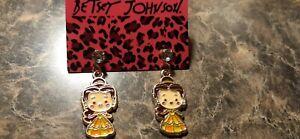 BETSEY JOHNSON CRYSTAL & ENAMEL LITTLE GIRL STUD EAR RINGS-NWT