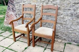 2 Impressive French Bergerac Solid Oak Farmhouse Ladder Back Carver Chairs