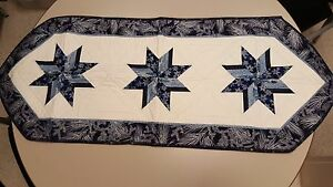 Winter/ Quilted Double Sided Table Runner, Handmade - Holiday-Stars & Snowflakes