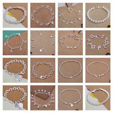 *UK* 925 Silver Plt Bracelet / Anklet / Chain Ladies Statement Gift Girl Womens