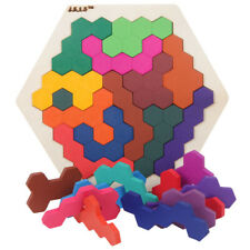 WOODEN IQ GAME HEXAGON INTELLIGENT TANGRAM TEASER PUZZLE BABY EDUCATIONAL TOY