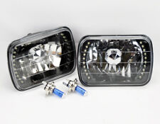 "7x6"" Halogen H4 Black Chrome LED DRL Glass Headlight Conversion Pair RH LH Plym"