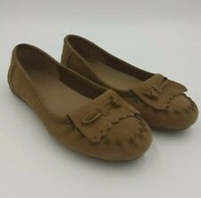 Women's Clarks Brown Leather Suede Moccasin Slip On Shoe UK 3 Comfort Loafer