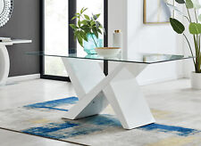 Torino Large Rectangular White & Glass Dining Table with 6 Modern Chairs