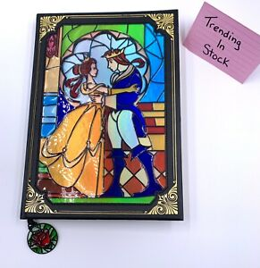 *NEW Disney Parks Beauty & The Beast Stained Glass Storybook Journal Notebook