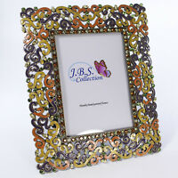 Bejeweled filigree pattern photo frame, enamel painted with crystals in yellow