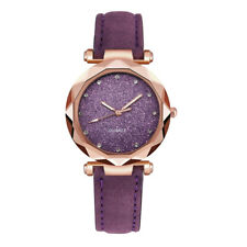 Fashion Lady Korean Rhinestone Rose Gold Quartz Watch Female  Leather Band