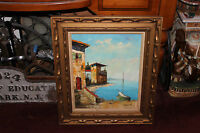 Original Rossini Signed Nautical Painting-Sailboat Ocean House By Sea-Framed