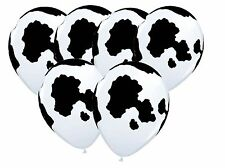 Cow Hide Print Latex Balloon x 6 Farm Zoo Animal Country Holstein Western