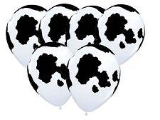 Cow Hide Print Latex Balloon X 6 Farm Zoo Animal Country Holstein Western
