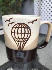 Vintage Hot Air Balloon Birds Brown Stoneware Coffee Tea Mug Cup