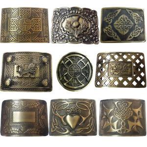 Men's Scottish Kilt Belt Buckle Various Design Antique/Chrome Thistle Buckles L