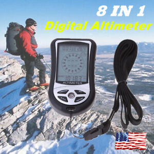 Multifunction Digital  Compass Outdoors Barometer Altimeter Thermometer 8 In 1