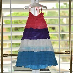 Oilily Girls Starsky Rainbow Silk Halter Dress New $296.00