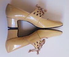 Authentic Vtg 60s / 70s Yellow Mod Go-Go Chunk Heels 8.5 Aa - Nos - Unworn