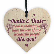 Auntie Gifts for Uncle Thank You Wooden Heart Plaque Chic Sign Birthday Presents