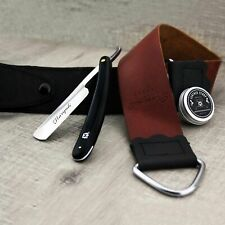 Brand New Leather Strop Strap Paste with Straight Razor for Men's Shaving