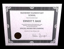 ERNEST T. BASS The Andy Griffith Show PROP DIPLOMA Mayberry Barney Fife TV show