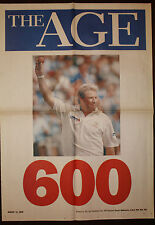 2005 The Age Shane Warne 600 Wickets Newspaper Cricket Poster