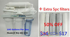 100 GPD 6st Reverse Osmosis RO DI Water Filters system + extra 5 PC replacement