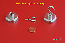 Neodym Flachtopfmagnet mit Haken 32 x 18mm 34 kg Topfmagnet starke Loch Magnete