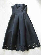 $2150 Celine NWT Laser Floral Cutout Hem Strapless Silk Gazar Taffeta Dress 36