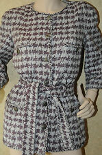 12P NEW CHANEL 10 CC button fantasy tweed grey purple SUIT JACKET belt 42