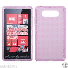 Nokia Lumia 820 CANDY GEL SKIN COVER SOFT TPU CASE ACCESSORY PURPLE CHECKERS