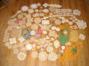 Vintage Lot of 86 pcs Hand Crochet.Tea cup,Baskets,Drawstring Bag, Bows & more