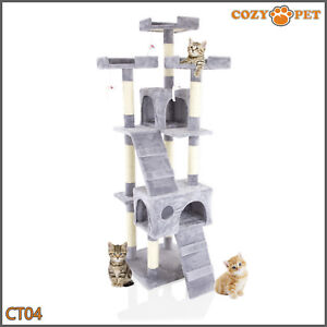 Cozy Pet Deluxe Cat Tree Sisal Scratching Post Quality Cat Trees - CT04-Grey