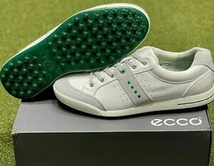 ECCO Street Retro Spikeless Golf Shoes Size 44 White/Green US 10.5 NEW #81815