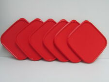 6 Tupperware Modular Mates Square RED seal Replacement MM Lid Cover #1623 New
